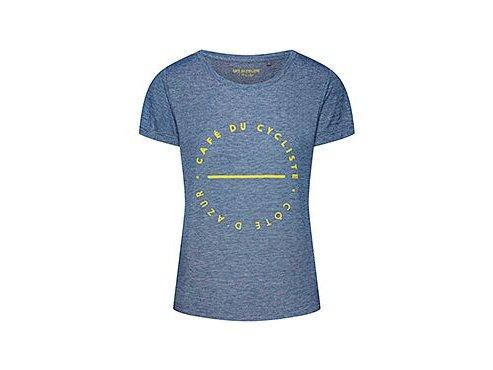 Tričko dámské s žlutým nápisem CAFÉ DU CYCLISTE - námořní modrátshirt navy yellow[1]