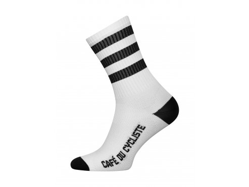 Café du Cycliste SS19 accessoires Socks Stripes White Black Packshot side