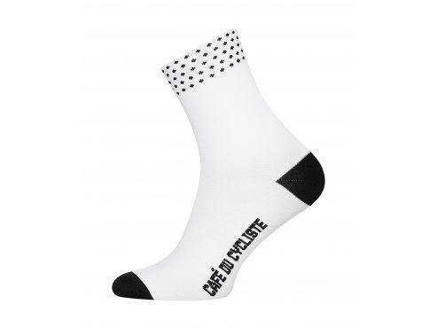 CAFÉ DU CYCLISTE - cyklistické ponožky - DOTTED bílá