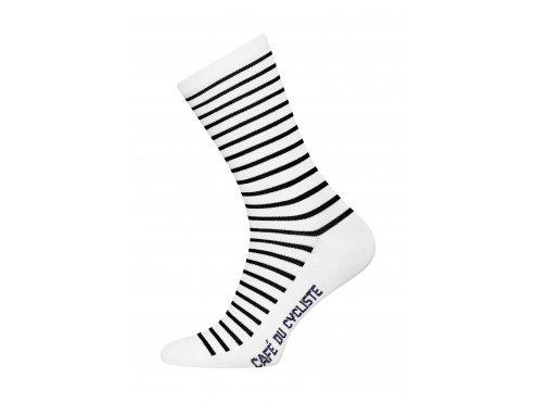 CAFÉ DU CYCLISTE - cyklistické ponožky - Merino BRETON bílá a námořní modrá