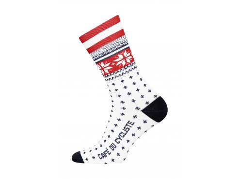 Café du Cycliste SS19 Accessoires Socks Merino nordic High Cuff Red Packshot Side