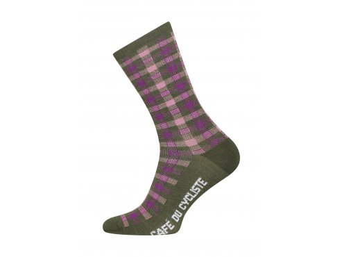 Café du Cycliste SS19 Accessoires Socks Scottish Tartan Khaki Packshot Side