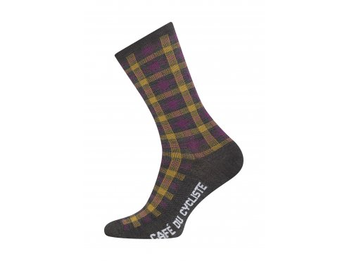 Café du Cycliste SS19 Accessoires Socks Scottish Tartan Grey Packshot Side
