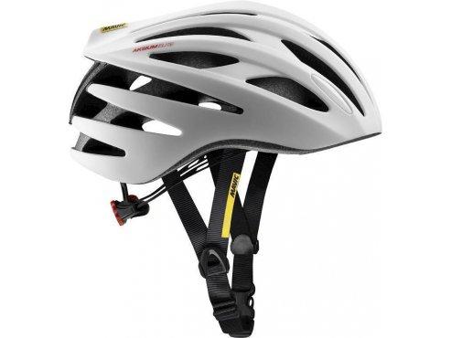 19 MAVIC cyklistická helma na kolo bílá AKSIUM ELITE WHITE/BLACK 378361
