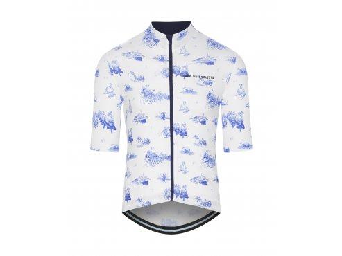 CAFÉ DU CYCLISTE - pánský cyklistický dres - cyklodres VALENTINE GRAVURE modrá / cyklo dresy
