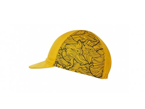 CAFÉ DU CYCLISTE - cyklistické čepice - kšiltovka na kolo CYCLING CAP ANIMAL series WOLF žlutá