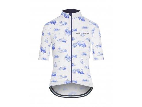 CAFÉ DU CYCLISTE dámský cyklistický dres - cyklodres VALENTINE GRAVURE modrá