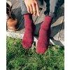Cyklistické ponožky - Merino/Wool TEXTURED vínová s modrousocks arriere pays textured red 4[1]