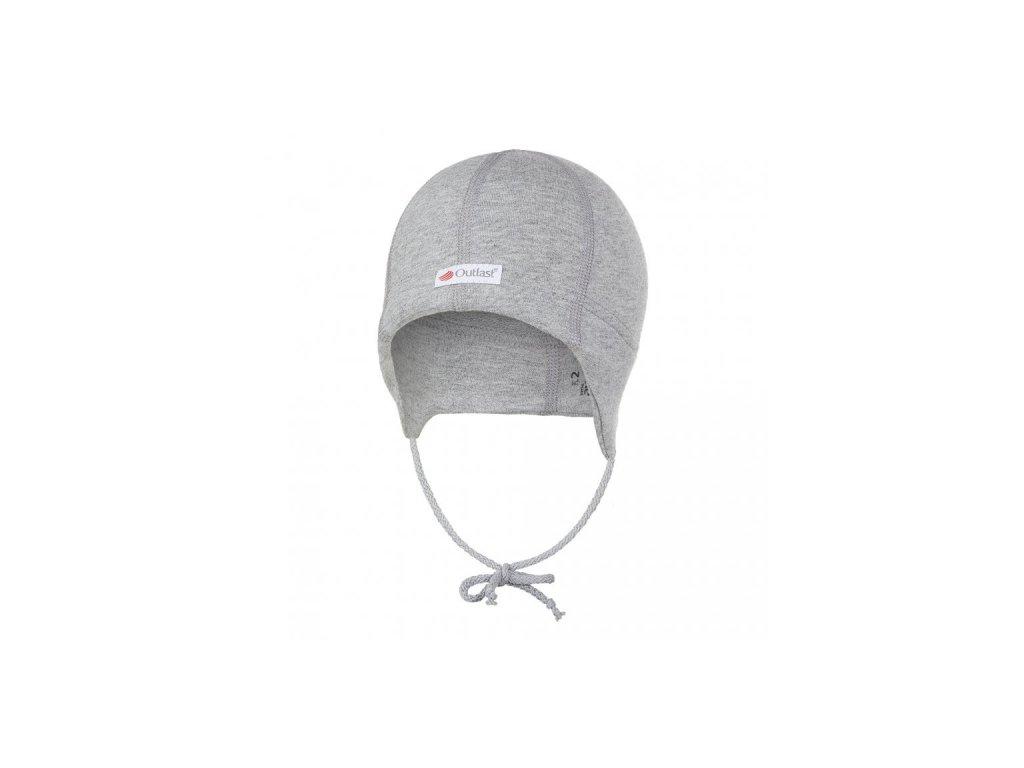 Čepice smyk zavazovací plochý šev Outlast® - šedý melír