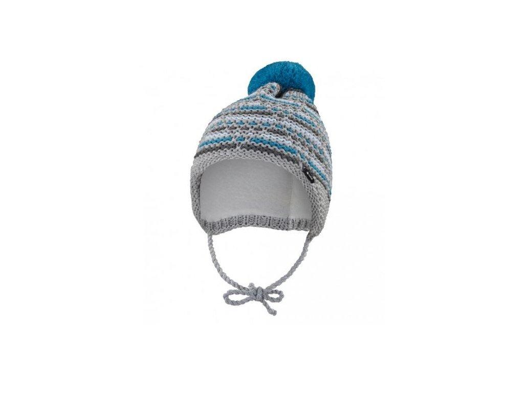 Čepice pletená zavazovací čárky Outlast ® - šedomodrá