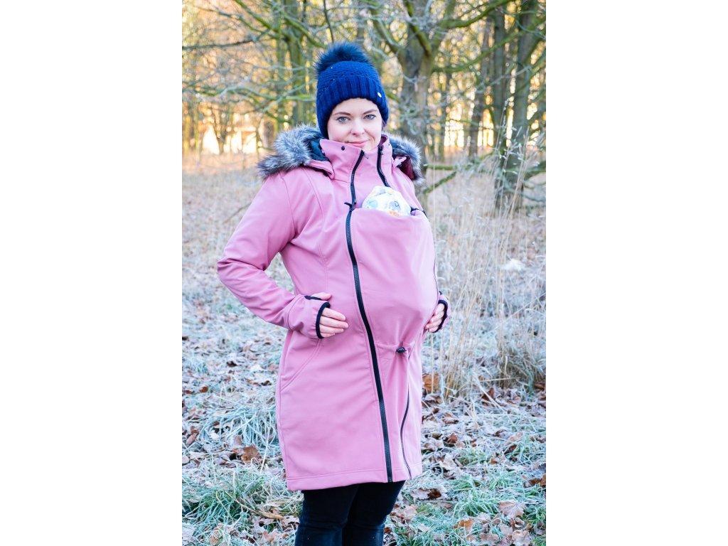 Softshellový kabát na nošení s kožíškem - starorůžová