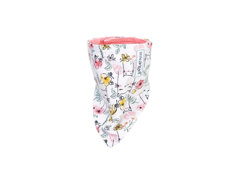 Šátek na krk BIO Outlast® - natur kočky/tm.losos