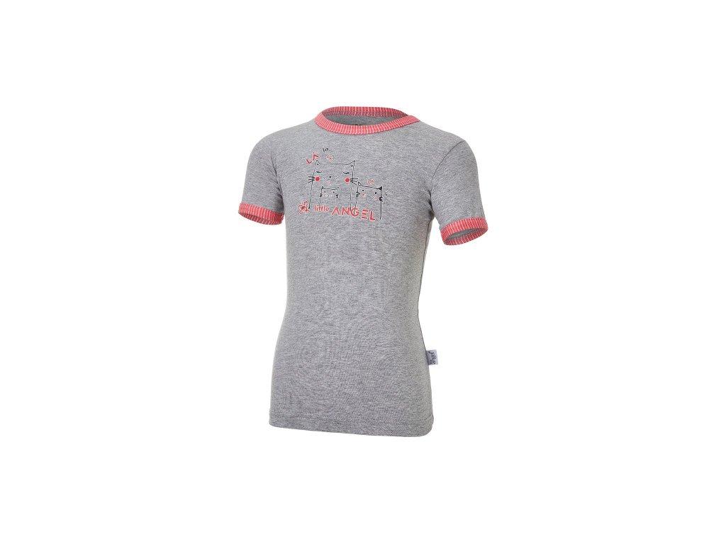 Tričko tenké KR obrázek Outlast® - šedý melír/pruh jahodový