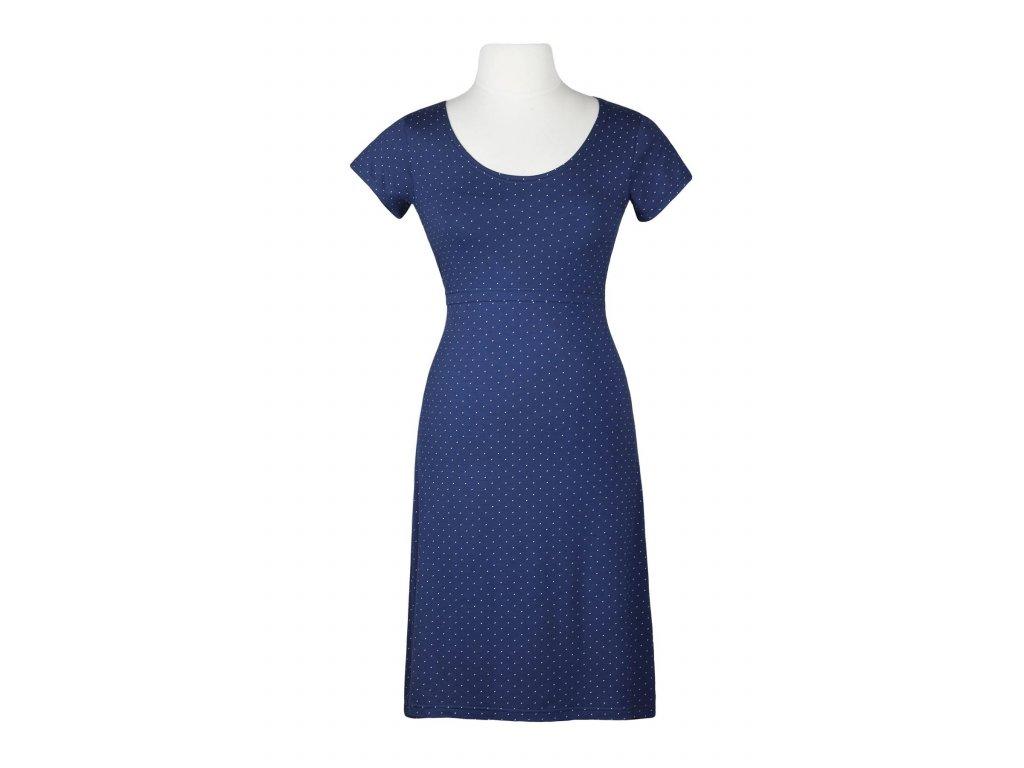 AW Bambusové kojící šaty s krátkým rukávem - modré