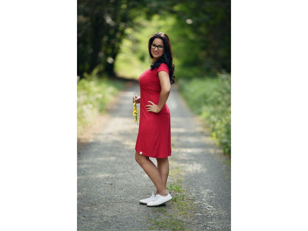 AW Bambusové kojící šaty s krátkým rukávem - červená