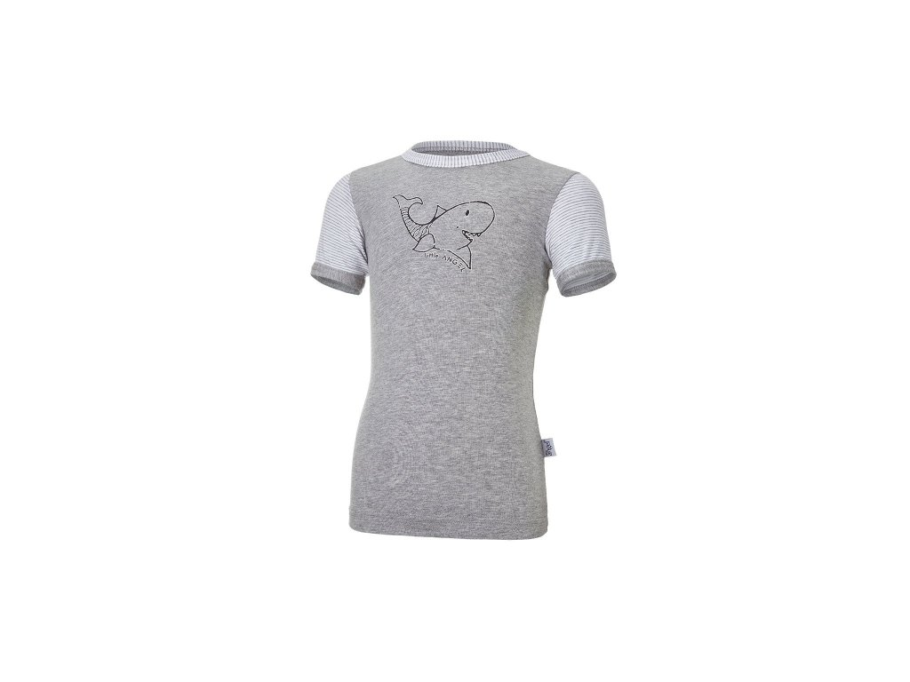 Tričko tenké KR obrázek PRUH Outlast® - šedý melír/pruh bílošedý melír