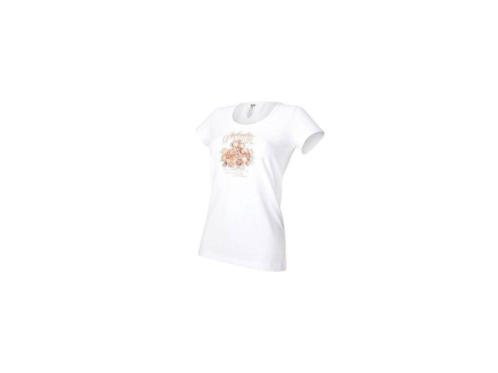 Tričko dámské KR tenké tisk Outlast® - bílá/kytky