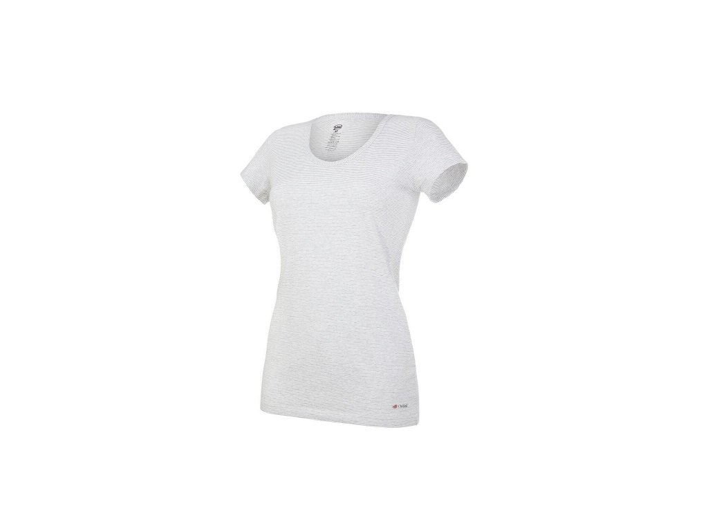 Tričko dámské KR tenké výstřih U Outlast® - pruh bílošedý melír