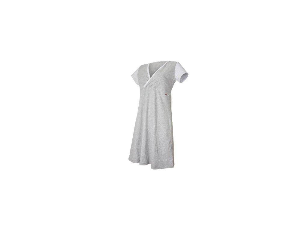 Noční košile tenká Outlast® - pruh bílošedý melír