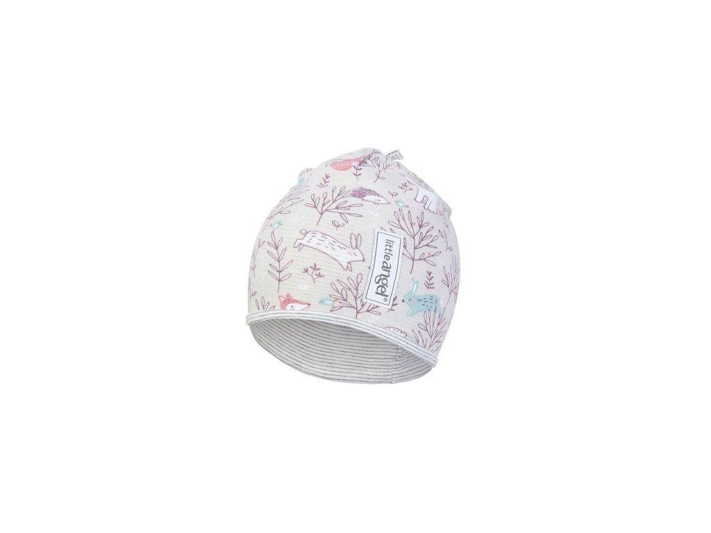 Čepice podšitá Outlast® - béžová-růžová liška/pruh bílošedý melír