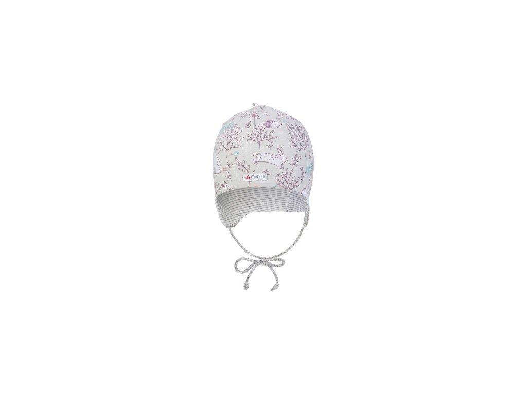 Čepice podšitá zavazovací Outlast® - béžová-růžová liška/pruh bílošedý melír