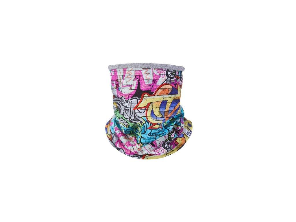 Nákrčník podšitý Outlast® - graffiti/šedý melír