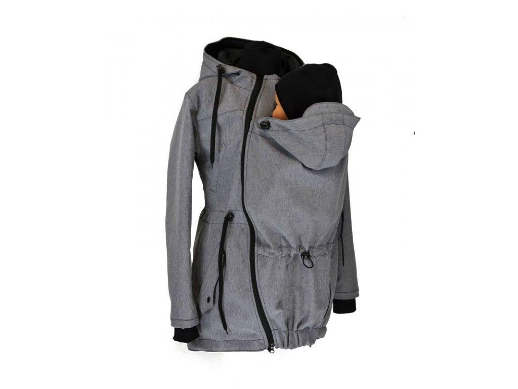 Softshellová nosící parka pro přední nošení- šedá žíhaná - ZIMNÍ