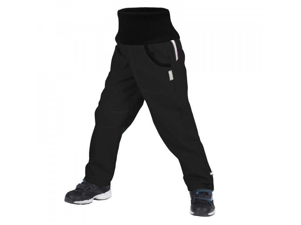 unuo detske softshellove kalhoty s fleecem street cerna (8)