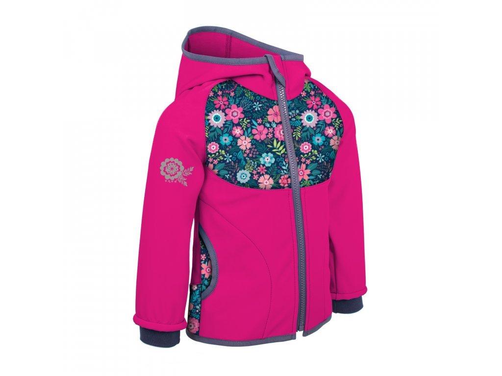 unuo detska softshellova bunda s fleecem fuchsiova kvetinky (1)