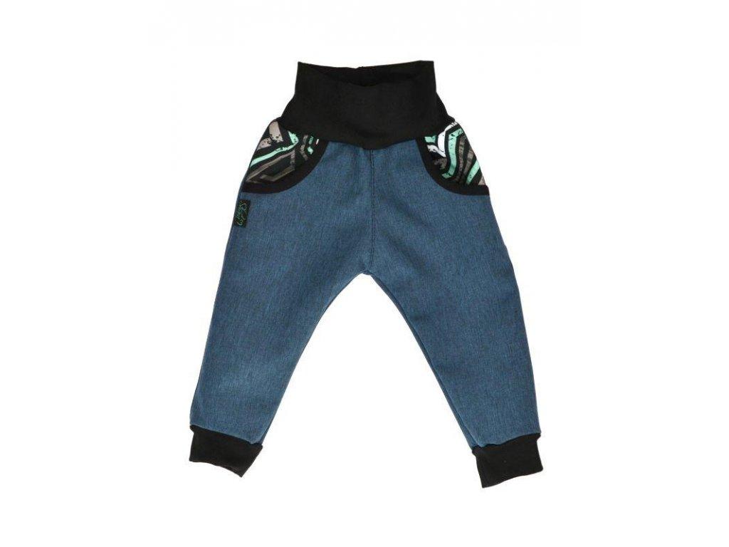 detske kalhoty softshellove bambusovy uplet modra zihana grafiti