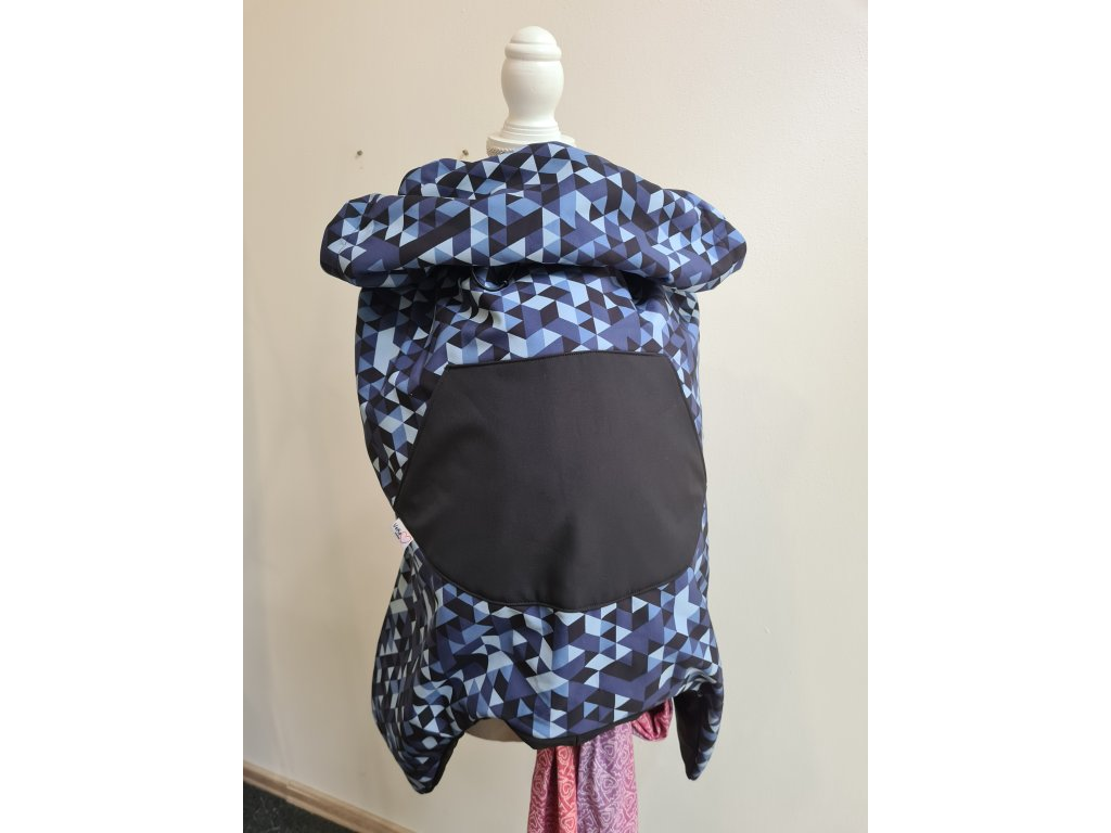 Nosící kapsa softshellová - velká - černá s modrými trojúhelníky