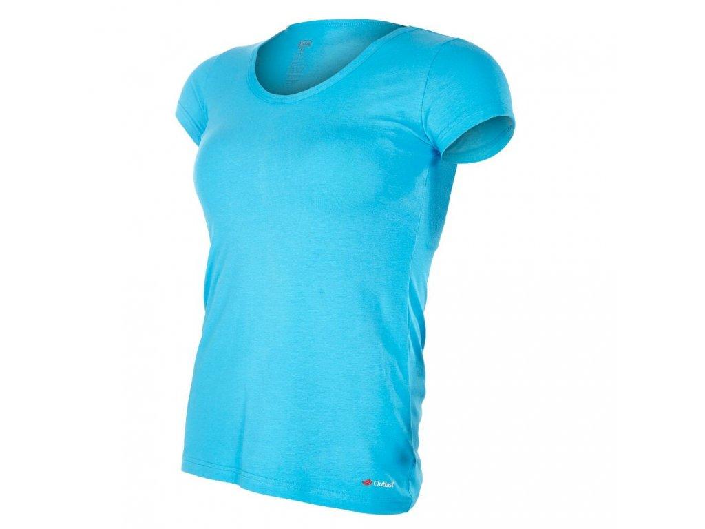 Tričko dámské KR tenké výstřih U Outlast® - azurově modrá