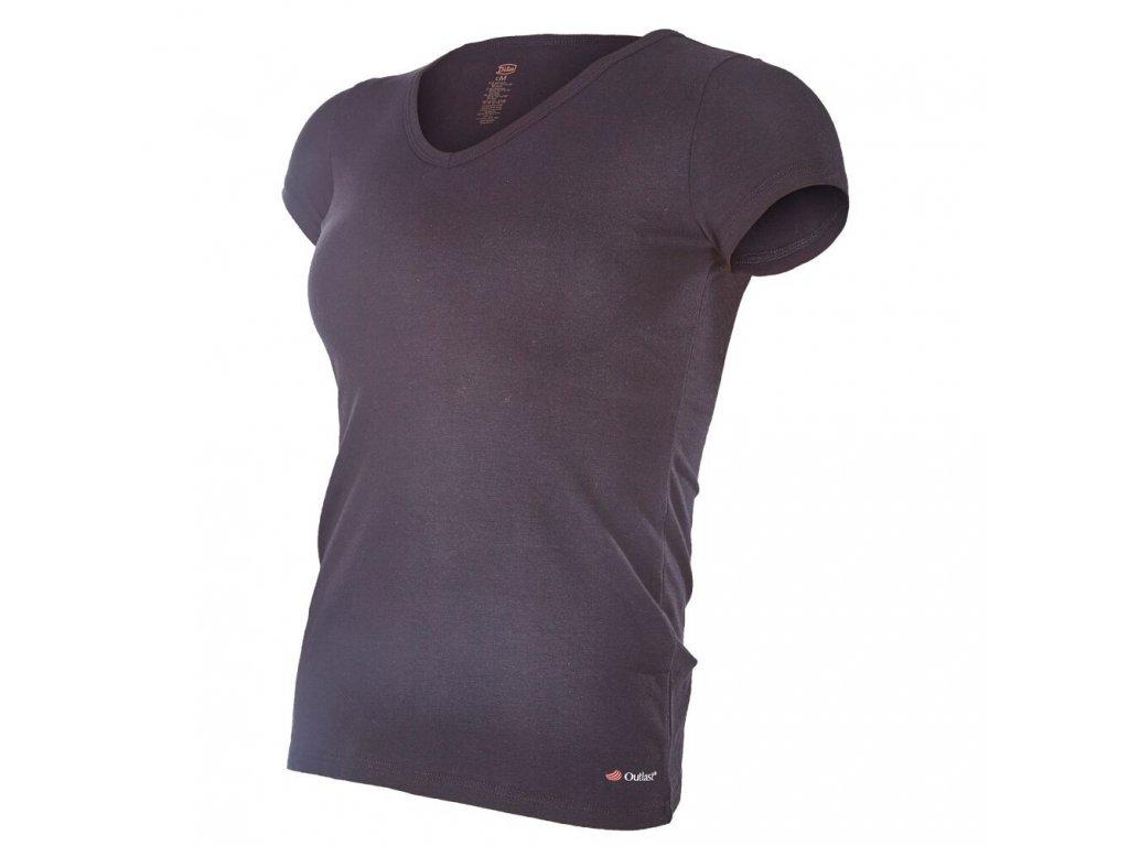 Tričko dámské KR tenké výstřih U Outlast® - černá