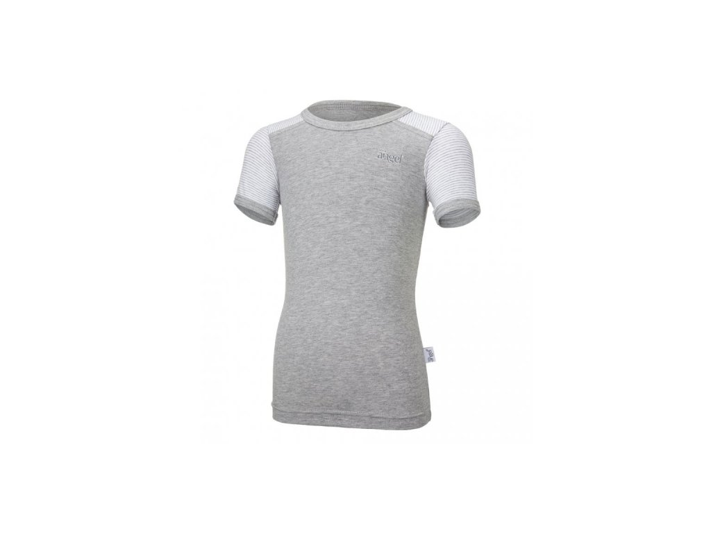 Tričko tenké KR pruh Outlast® - šedý melír/pruh bílošedý melír