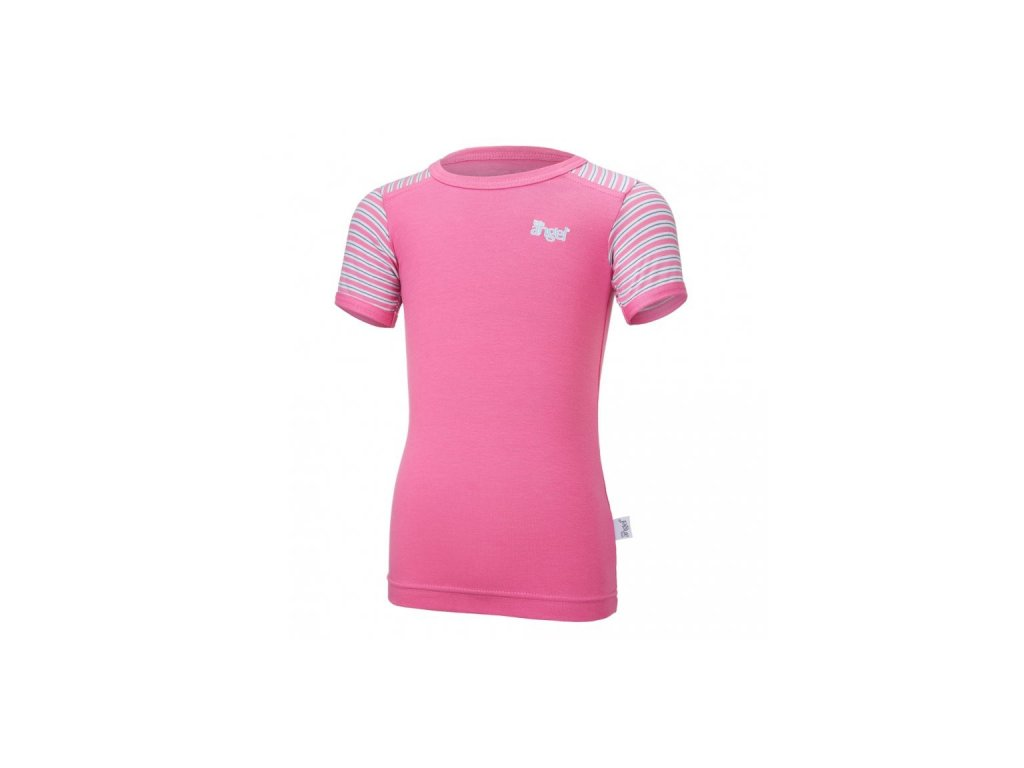 Tričko tenké KR pruh Outlast® - tmavě růžová/pruh růžovozelený