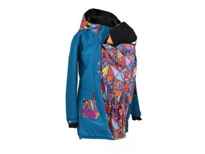 Soft.nosící kabát-jaro/podzim-petrolej+bláznivé trojúhelníky