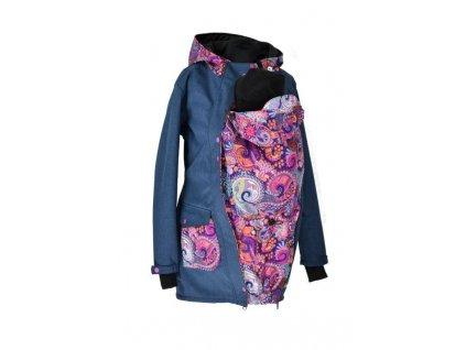 zimni nosici kabat softshellovy shara modry zihany fialkove ornamenty (1)