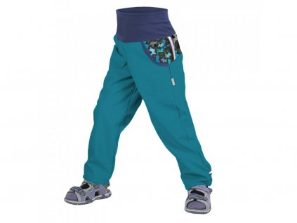 unuo detske softshellove kalhoty bez zatepleni smaragdova pejsci (2)