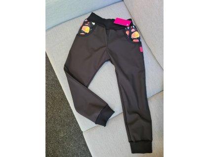 detske softshellove kalhoty zateplene fleecem cerne meduzy
