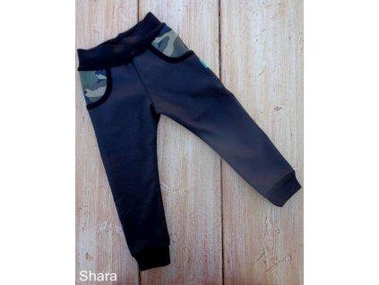Dětské softshellové kalhoty zateplené fleecem, černé, maskáč