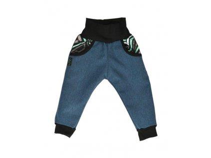detske softshellove kalhoty zateplene rostouci modra zihana grafiti
