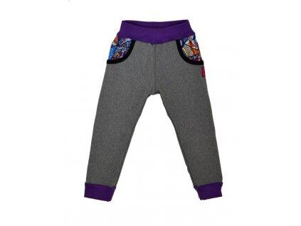detske kalhoty softshellove seda zihana blaznive trojuhelniky fialova