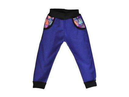 detske kalhoty softshellove modrofialova mandaly