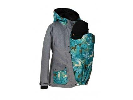Softshellová bunda pro přední i ZADNÍ nošení - jaro/podzim - šedá žíhaná/jeleni