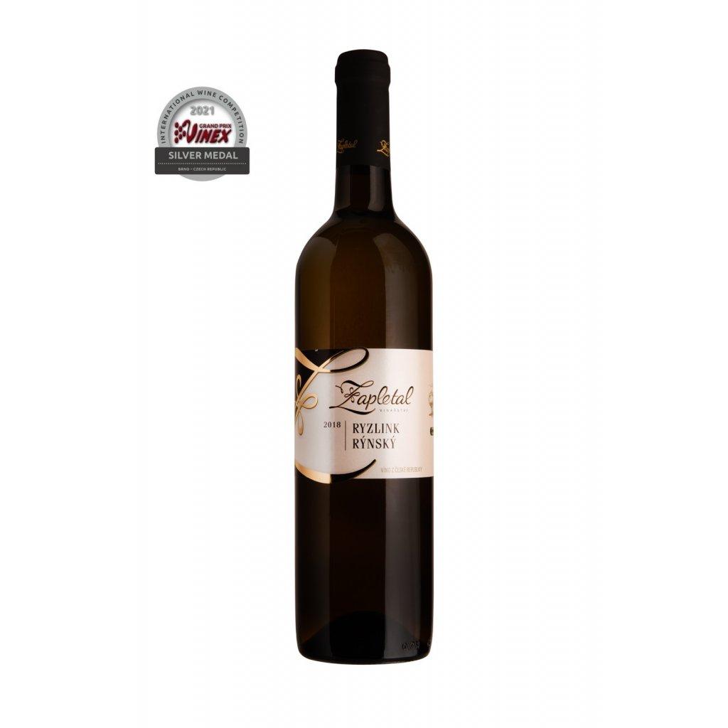 Ryzlink rýnský   bílé víno   polosuché   jakostní   2018   0,75 l Vinařství Zapletal