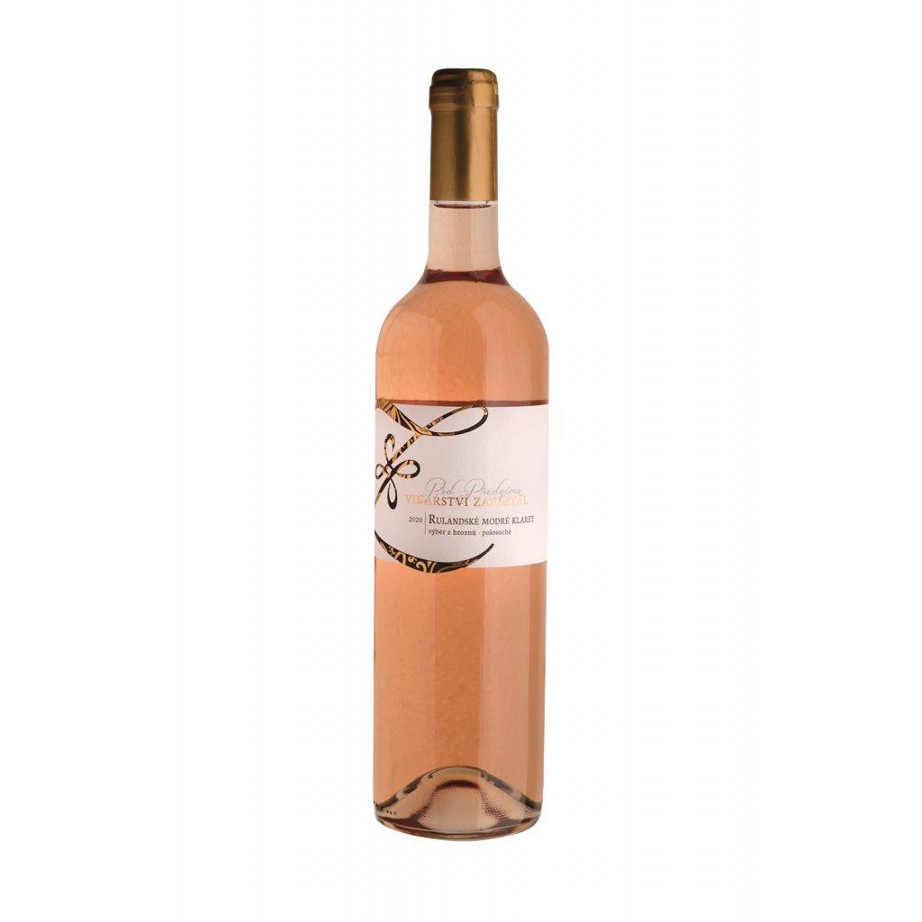 Rulandské modré klaret   růžové víno   polosuché   výběr z hroznů   2020   0,75 l Vinařství Zapletal