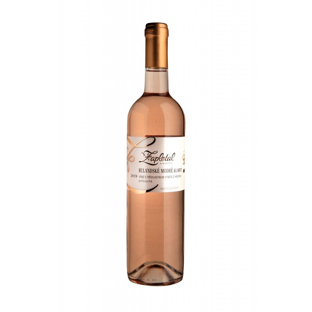 Rulandské modré klaret | růžové víno | polosladké | výběr z hroznů | 2019 | 0,75 l Vinařství Zapletal