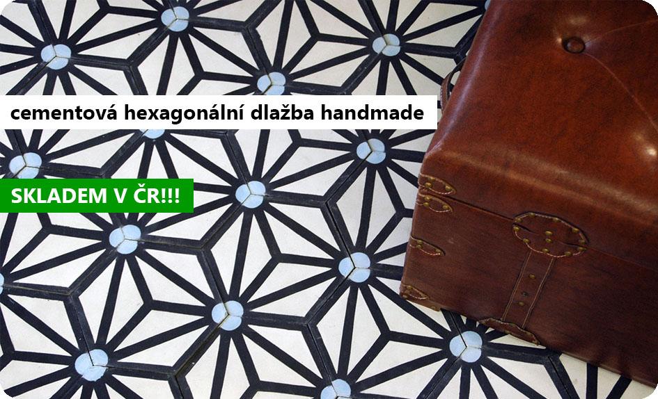 cementová hexagonální historická dlažba handmade