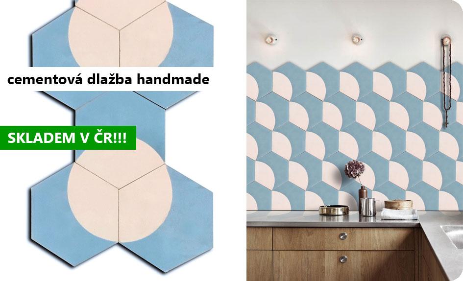 cementová hexagonální dlažba handmade orientální modrá bílá