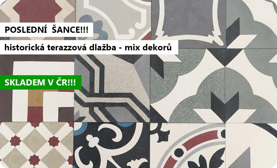 historická terazzová dlažba mix dekorů patchwork 20x20 handmade